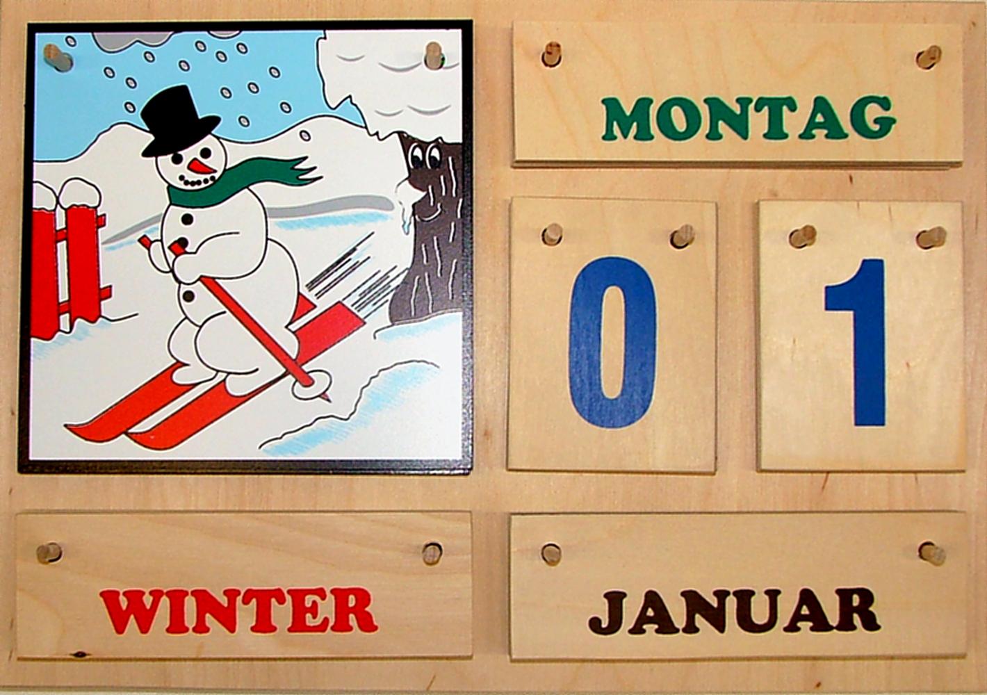 Kalender Jahreszeitenbaum mit bunter Schrift