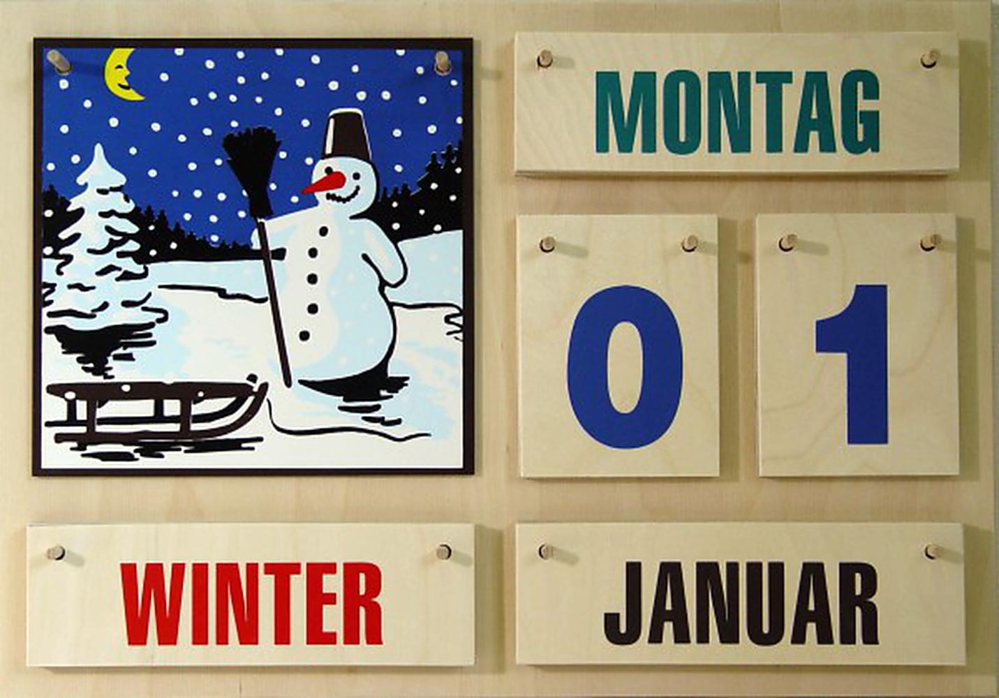 Holzkalender mit farbigen Zahlen 35*50*1,2 cm