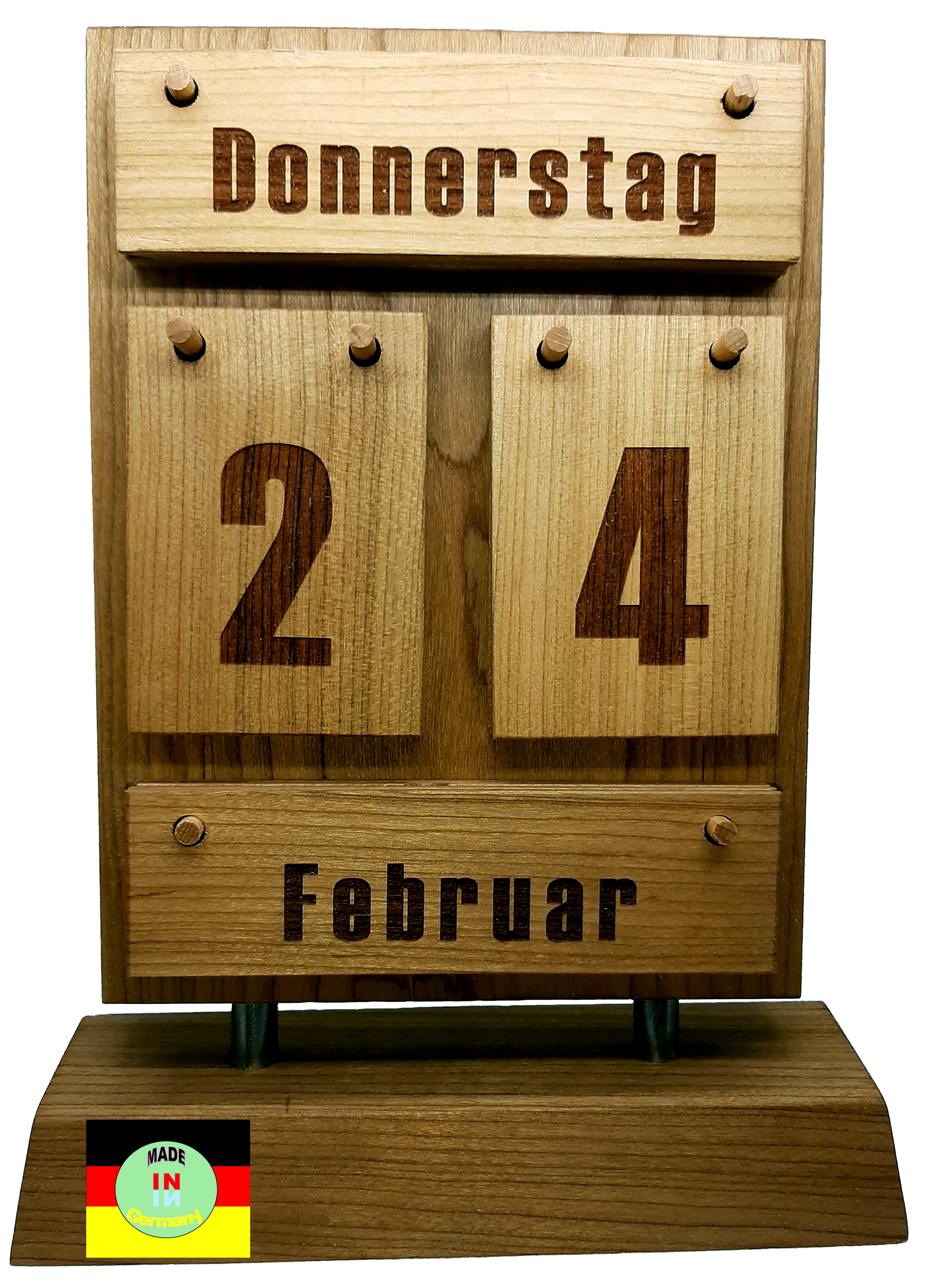 Tischkalender HOLZmini, Holz Accessoires aus edlem Kirschholz. Made in Germanie. Von BEHINDERTENWERKSTATT liebevoll in HANDARBEIT gefertigt.