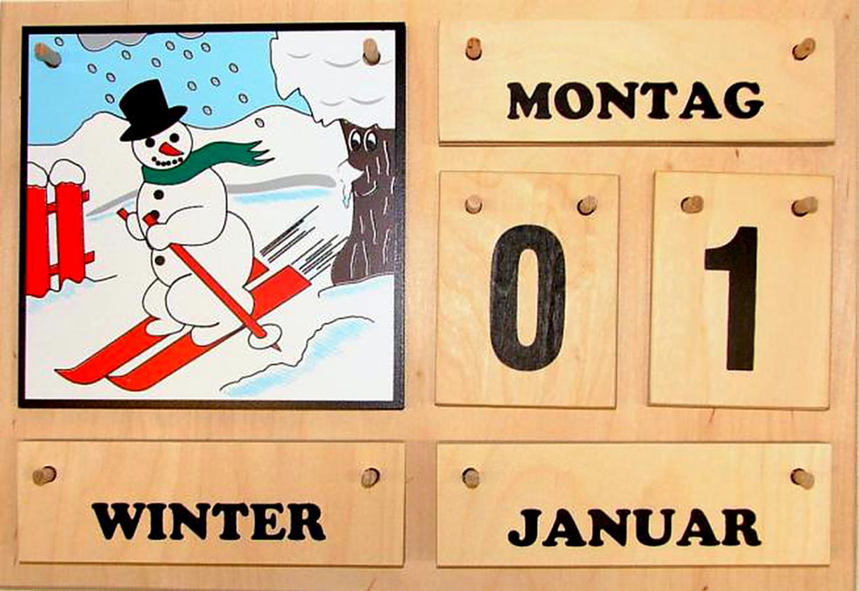Kalender Jahreszeitenbaum schwarze Schrift